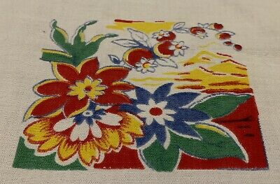 Vintage Tablecloth Mexican Theme 54 x 45 Animals Flowers Fruit Cacti Haciendas