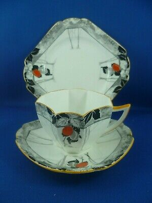 SHELLEY  Queen Anne RED PLUMS  Cup saucer & plate RD723404 Pat 11632 / 4