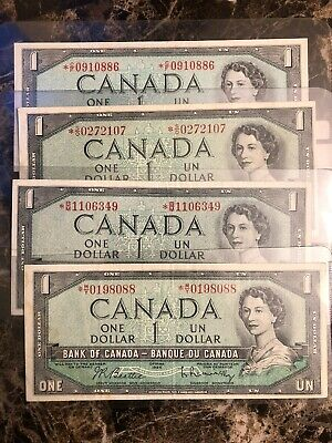 1954 Canadian replacement One Dollar Bank Notes, In Circulated Condition