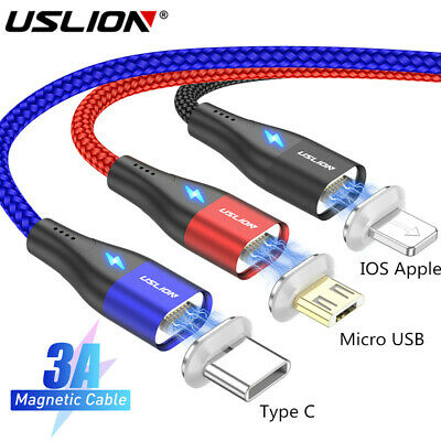 Magnetic Micro USB Type C Fast Charging Cable Charger For iphone Android USLION