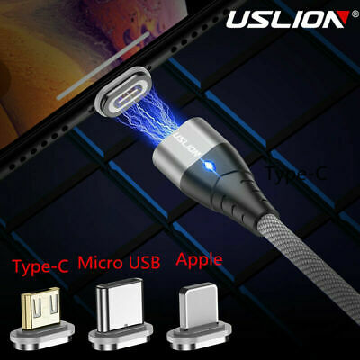 USLION Magnetic Micro Type C USB Fast Charging Cable Charger For iPhone Android