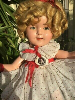 Stunning Shirley Temple composition doll 17' excellent original cond, very rare