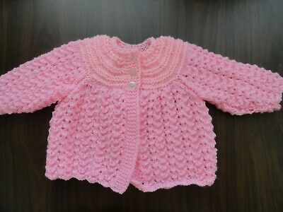 Baby Hand Knitted Jacket In Pink Chest : 20 Cm