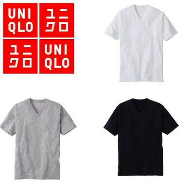 Uniqlo DRY V-neck Short Sleeve T-shirt Mens Size S M L Black Grey White Brown