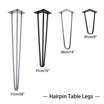"4x Hairpin Table Legs 10 & 12mm Steel 8"" 14"" 16"" 28"" Furniture Table Desk Bench"