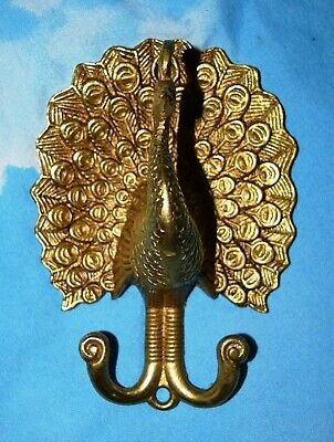 Brass Coat Hanger Peacock Shape Golden Handmade Design Wall Hook Decor MD10
