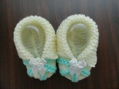 Baby Hand Knitted Booties In Mint & Cream
