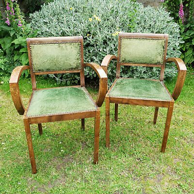 Art Deco Pair of Upholstered Armchairs C1920 (Antique)
