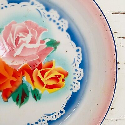Vintage Floral Metal Tray Peacock China FAB KITCHEN