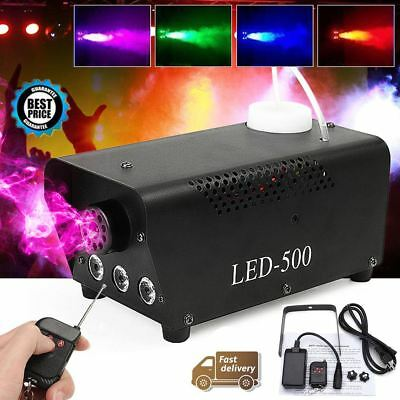 500W RGB LED Party Club Disco DJ Fog Smoke Machine Fogger Effect +Remote Control
