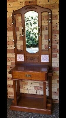 Hall Stand - Solid Timber With Mirror & Drawer
