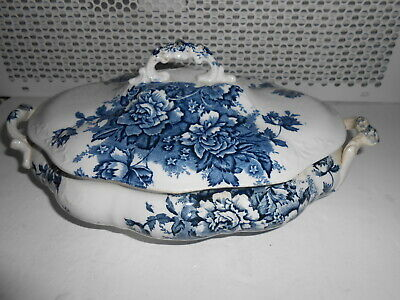 Vintage Blue White Country House Lidded Tureen Soup Bowl Serving Dish Floral Pat