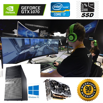Gaming PC Desktop: Dell Intel Core i7 3.9GHz/GTX 1070 8GB/SSD/16GB RAM/1TB HDD
