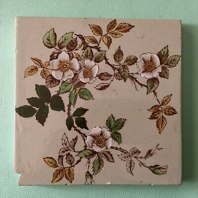 Old Floral Ceramic Washstand Fireplace Vintage Tile Hand Coloured