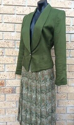 DS Vintage Skirt Suit Tailored Sz10 Green Classic Skirt Jacket Made in Australia