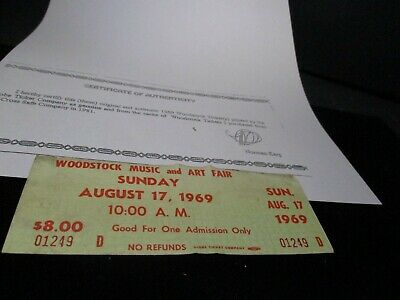 ORIGINAL WOODSTOCK TICKET August 17, 1969 Sunday 3rd day Peace Love  Music A61