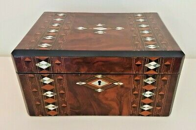 Antique box with Tunbridge Ware and nacre marquetry decoration