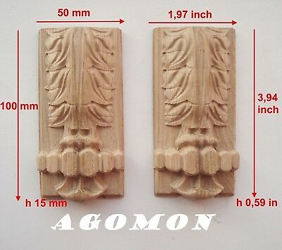 Wood Carved Console,Corbel set 2 pc Onlay Applique Sticker Home Decor Furniture