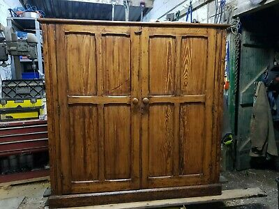 Antique Pitch Pine Large Hall Cupboard ex railway station