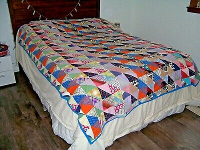 Vntg Quilt Patchwork 67 x 84 Colorful Beach Blanket Tablecloth