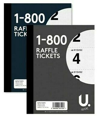 Raffle Tickets Book 1 - 800 Numbered Cloakroom Tambola Lucky Draw Security Coded