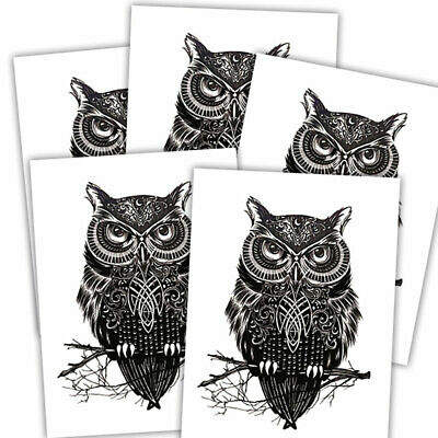 Owl fake tattoo's | 5 temporary tattoo sheets