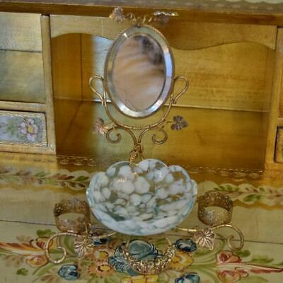 Beautiful Antique French Toleware Watch / Trinket Stand With Mirror & Glass Bowl