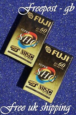 2 x EXTRA LONG FUJI EC-60 SHG VHS-C VIDEO CAMCORDER TAPES/ CASSETTES TOP QUALITY