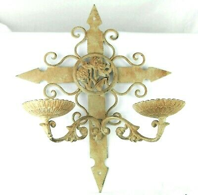 Vintage Cast Iron Wall Sconce Candle Holder Shabby Cottage White Ivory Rustic