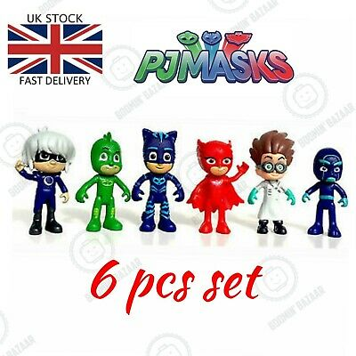 PJ Masks Action Figures 6pcs Set Catboy Owlette Gekko Toys Kids Gift Cake Topper