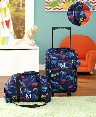 3 Pc Dinosaur Kids LUGGAGE MONOGRAM LETTER ROLLING SUITCASE DUFFEL BAG POUCH