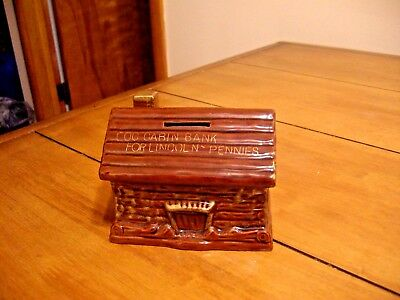 VINTAGE CERAMIC LOG CABIN BANK FOR LINCOLN PENNIES - JAPAN - with STOPPER
