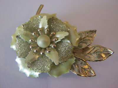Vintage large flower brooch, gold with pale green enamel flower, sparkly center