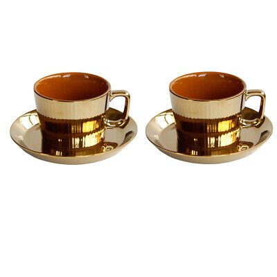 2x Luxury Gold Plated Tea/Coffee Cup &Saucer Set Porcelain Espresso Cup