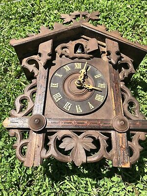 Antique 1900s Germany Black Forest Inlaid Cuckoo Bird Wall Clock 4 Parts Repair