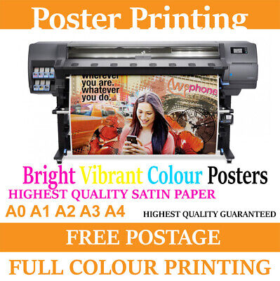 Your images Bright Vibrant Colours cheap Poster printing Service A0 A1 A2 A3 A4