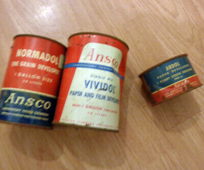 Collection Of Vintage Film Paper Developers  Ansco  Normadol Vividol