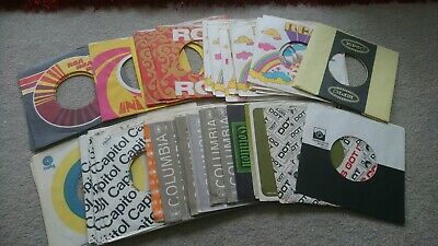 60 + 45 rpm record sleeves - all original (Bowie, Beatles, Dylan, Presley)