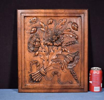 *French Antique Hand Carved Architectural Panel Walnut Wood Salvage Flowers