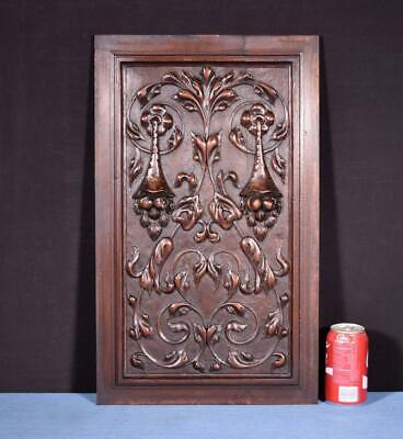 *Large French Antique Carved Architectural Panel Door Solid Walnut Wood Salvage