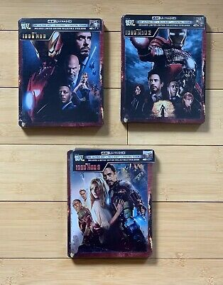 IRON MAN 1,2 & 3 [Steelbook] (4K Ultra HD + Blu-ray +Digital) BRAND NEW! In Hand