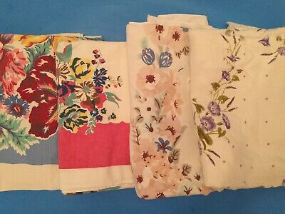 Lot Of 4 Cutter Vintage Printed Tablecloths - Floral R6