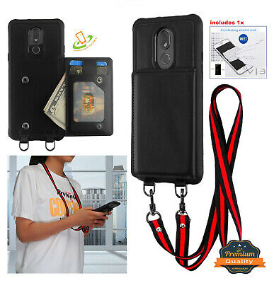 For LG Stylo 5 Leather Wallet Card Case with Lanyard Neck Strap Suspend Cover