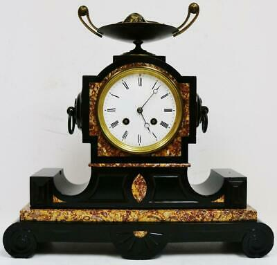 Antique French 8 Day Black Slate & Multi Coloured Marble Striking Mantel Clock