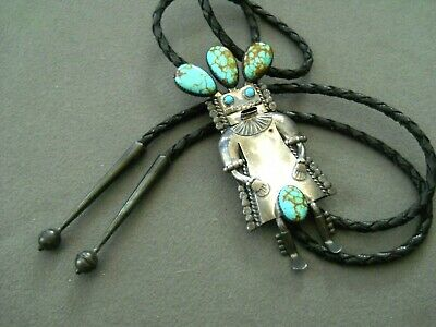 Native American Spiderweb Sterling Silver Kachina Bolo tie Signed W DENETDALE
