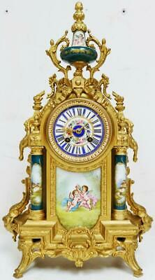 Beautiful Antique French 8 Day Striking Gilt Metal & Green Sevres Mantel Clock