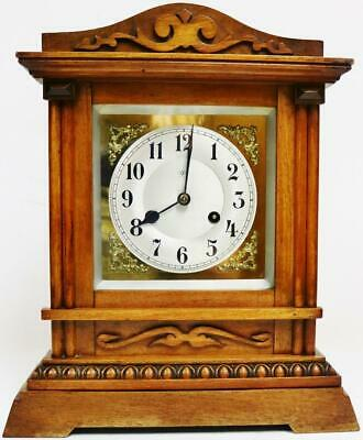 Antique Junghans 8 Day Architectural Carved Mahogany Gong Striking mantel Clock