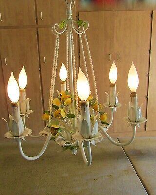 Vintage Mid Century  Italian Tole  6 arm Chandelier with 15 Beautiful Roses 60's