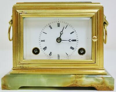 Rare Antique French Moulinie Brass & Glass 8 Day Bell Striking Carriage Clock
