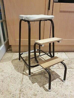 Retro kitchen stool with Fold up steps cream seat